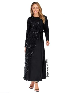 Sequins Mesh Evening Gown