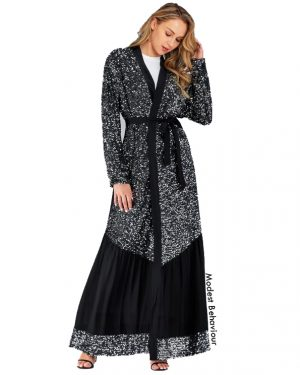 Sequins Silver and Black Abaya