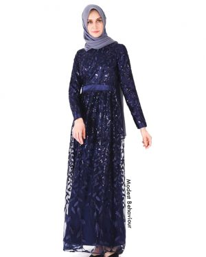Shimmery Navy Evening Gown