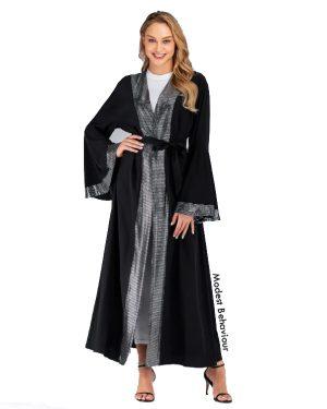 Shimmery Silver Framed Black Abaya