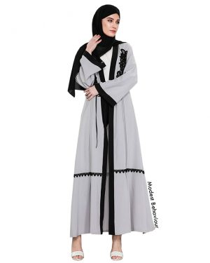 Silver Black Framed Abaya With Embroidery