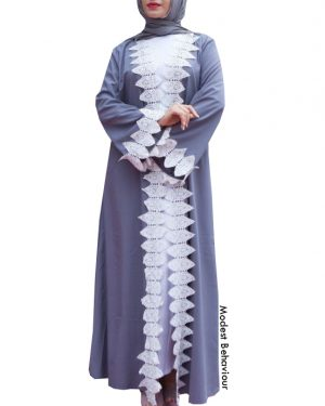 Stone Abaya Trimmed With White Lace