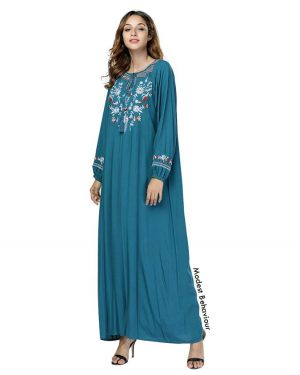 Teal Embroidered Abaya