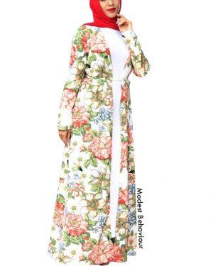 Vibrant Floral Long Cardigan Abaya