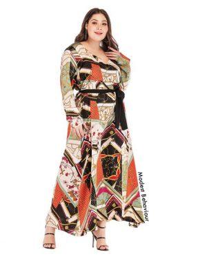 Vintage Patterned Plus Size Maxi Dress
