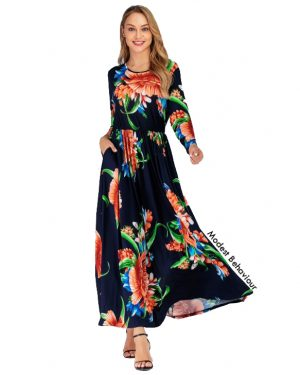 Wild Floral Patterned Maxi Dress