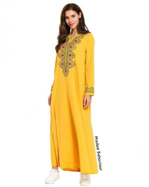 Yellow Abaya Dress With Embroidery