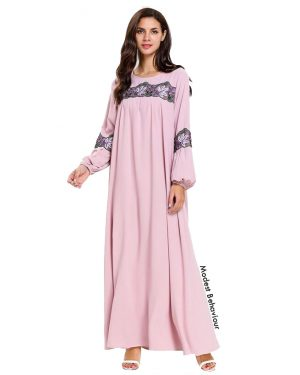 Pink Embroidered Abaya Dress