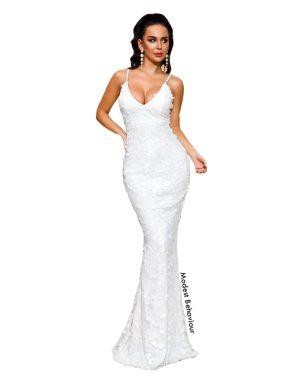 3D Flower White Evening Dress