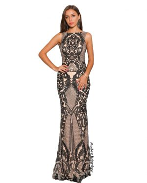 Backless Geometric Bodycon Evening Gown
