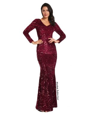 Burgundy Sequins Evening Gown