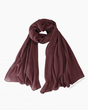 Dark Mauve Brown Chiffon Hijab