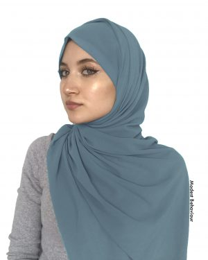 Denim Blue Chiffon Hijab