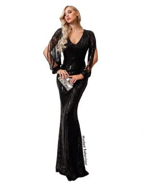 Classy Black Sequins Evening Gown
