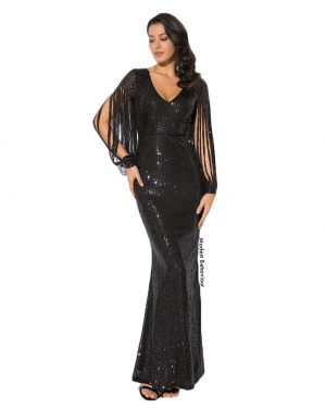Sequins Shredded Sleeve Evening Gown