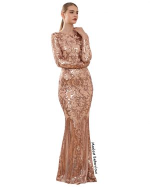 Classy Sequined Evening Gown