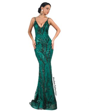 Emerald Green  Sequins Evening Gown