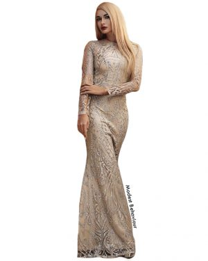 Foxy Golden & Silver Evening Gown