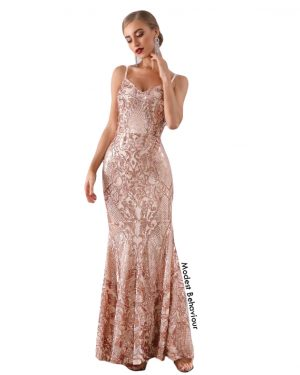 Luxury Sequins Rose Gold Evening Gown