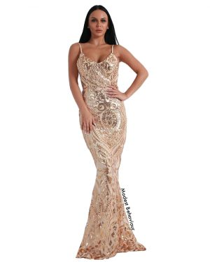 Metallic Sequins Evening Gown