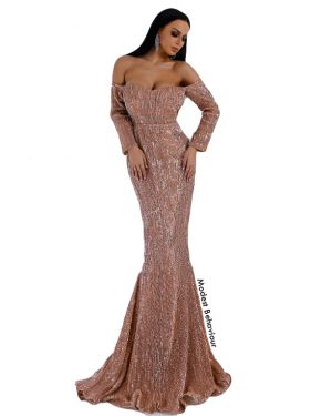 Off The Shoulders Mauve Sequins Evening Gown