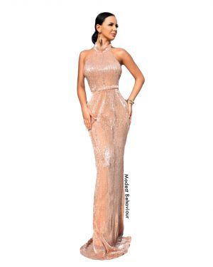 Rose Gold Halter Evening Gown