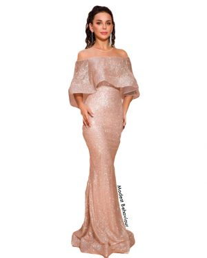 Rose Gold Ruffled Evening Gown
