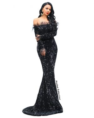 Off The Shoulder Feather Evening Gown