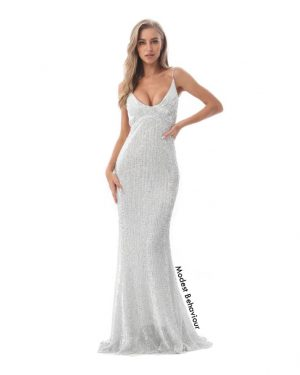 Backless Sequins Mermaid Evening Gown