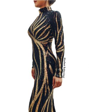 Black & Gold Sequins Bodycon Evening Dress
