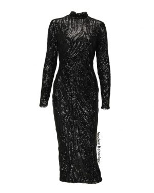 Black Sequins Bodycon Evening Dress