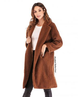 Brown Teddy Bear Long Open Fur Coat
