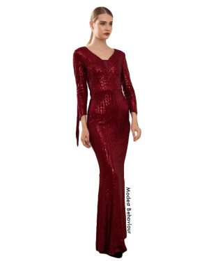 Burgundy Sequins Sleeve Trail Evening Gown