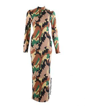 Camo Print High Neck Maxi Dress