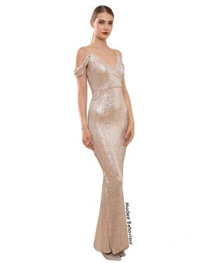Champagne Sequined Princess Evening Gown