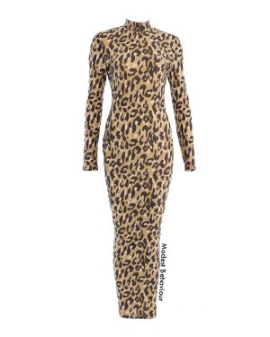 Cheetah Print High Neck Maxi Dress