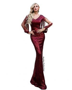 Classy Burgundy Sequins Evening Gown