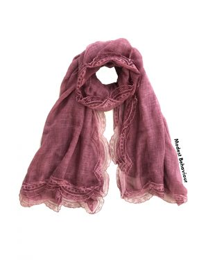 Burgundy Lace Trimmed Hijab