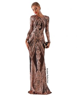 Full Sequined Mesh Evening Gown