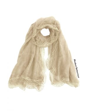 Beige Lace Trimmed Hijab
