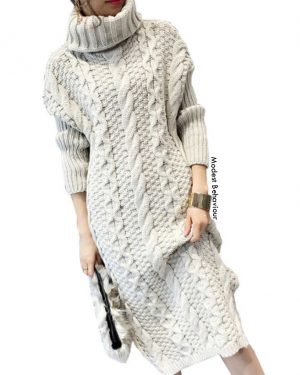 Knitted Pattern Sweater Dress
