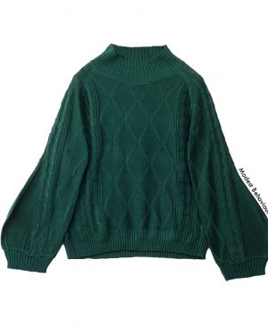 High Neck Lantern Sleeve Pattern Knitted Sweater