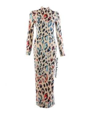 Leopard Print Colorful High Neck Maxi Dress