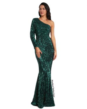 One Sleeved Sequined Mermaid Evening Gown