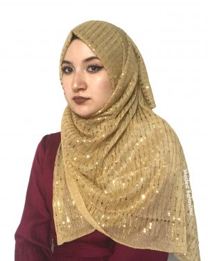 Gold Shimmer Pleated Hijab