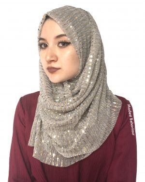 Silver Shimmer Pleated Hijab