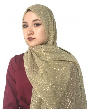 Light Gold Shimmer Pleated Hijab