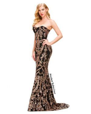Sweetheart Royal Pattern Evening Gown
