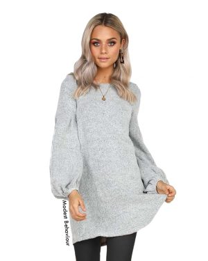 Lantern Sleeve Long Sweater