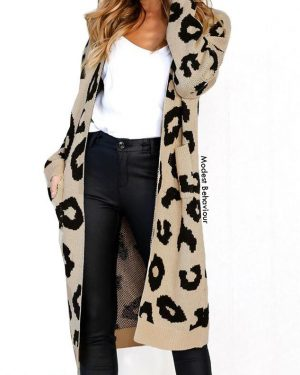Leopard Long Knitted Cardigan